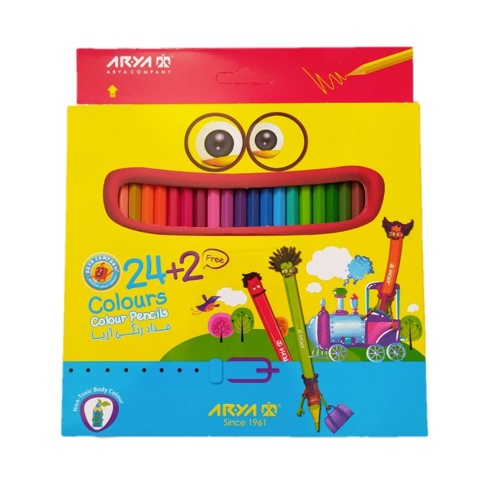 مداد رنگی آریا 2+24 رنگ آمیزی