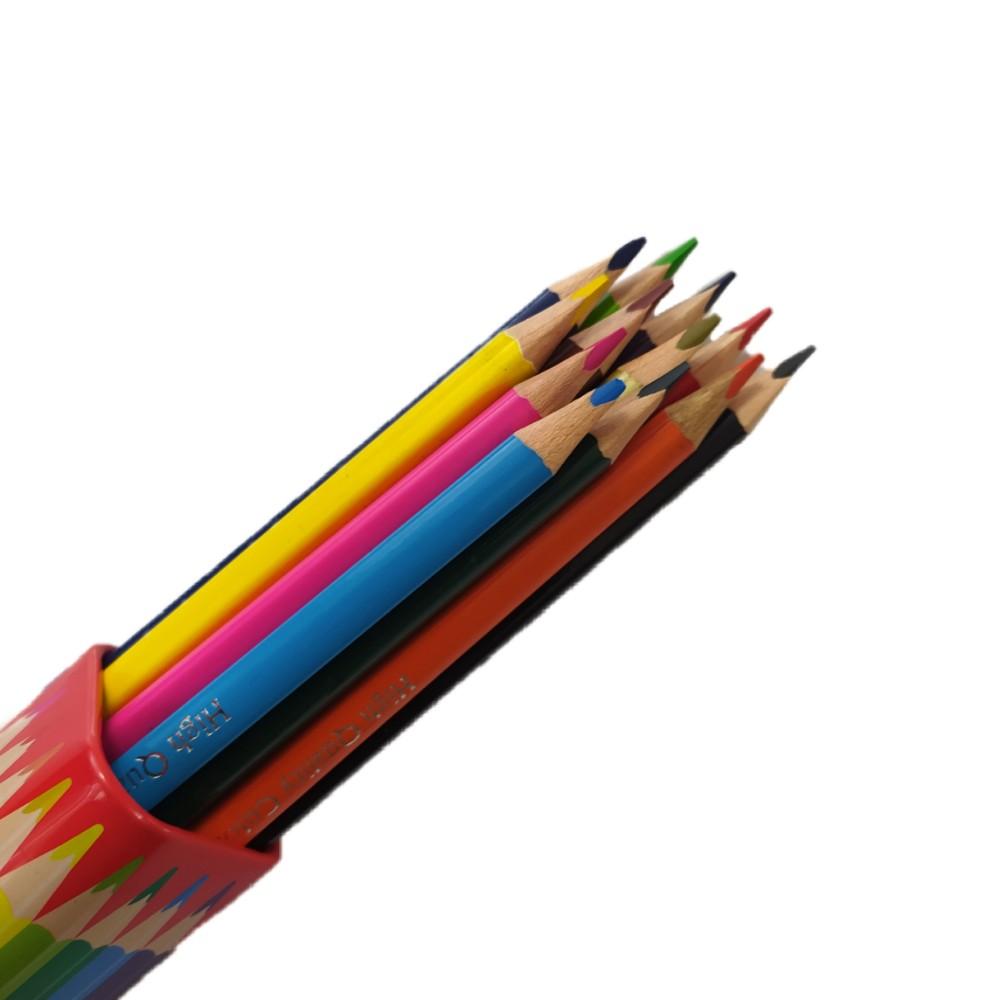 مداد رنگی ووک 12 رنگ مثلثی فلزی لوله ای