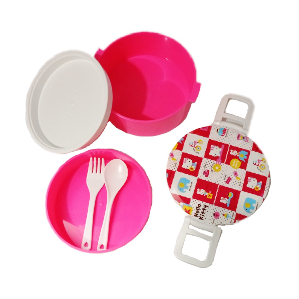 ظرف غذای دو طبقه پلاستیکی صورتی بالا