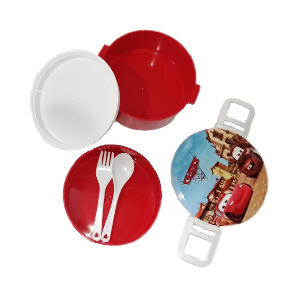 ظرف غذای دو طبقه پلاستیکی قرمز بالا