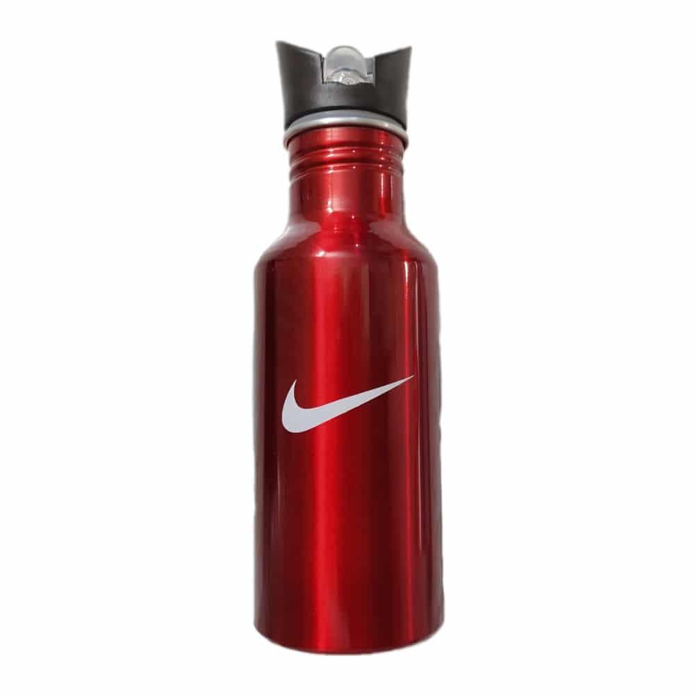 قمقمه ورزشی فلزی نی دار قرمز
