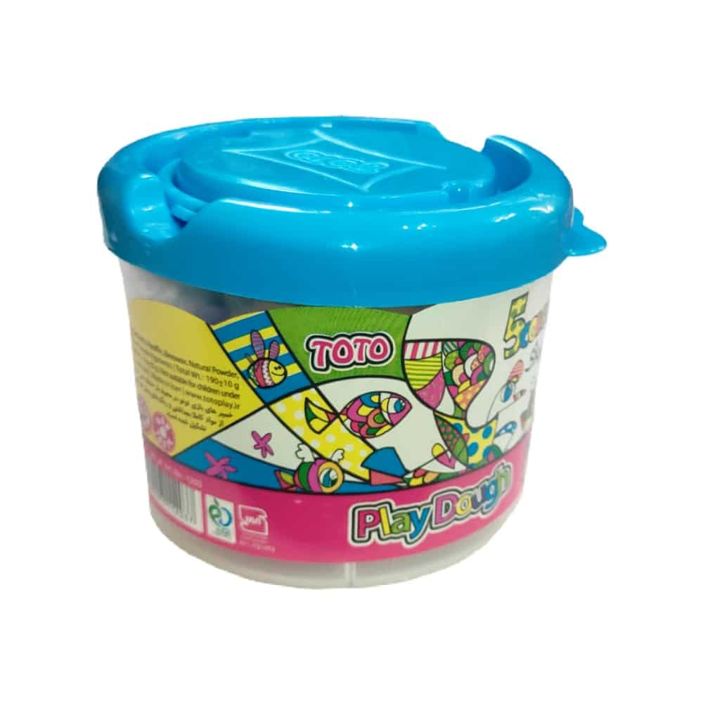 خمیر بازی سطلی 5 رنگ توتو